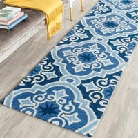 Safavieh Hand-Hooked Four Seasons Navy / Blue Polyester Rug - 2'3 x 8'