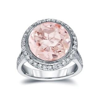 Auriya 14k White Gold Vintage 5ct Pink Morganite and 3/4ct TDW Round Diamond Halo Engagement Ring