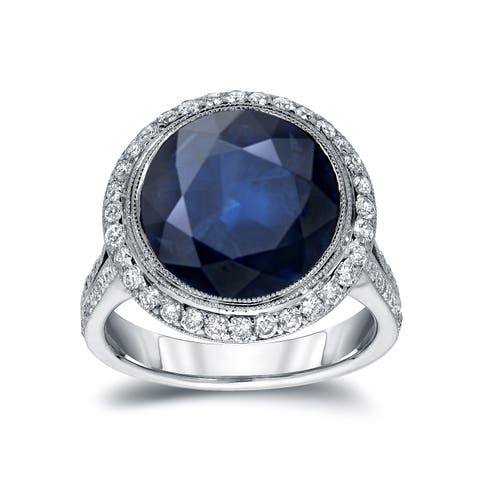Auriya 5 Carat Blue Sapphire and 3/4ctw Halo Diamond Engagement Ring 14k Gold