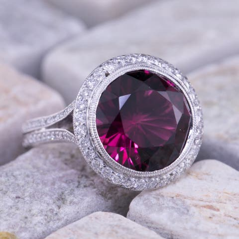 Auriya 5 carat TW Rubellite Gemstone and 3/4ctw Halo Diamond Ring 14KT White Gold