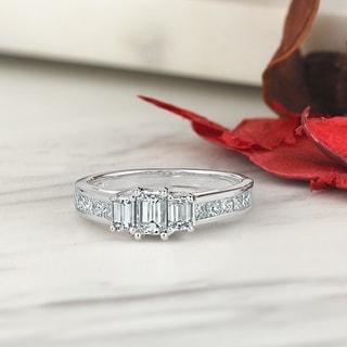 Auriya 14k Gold 1 1 4ctw Emerald Cut 3 Stone Diamond Engagement Ring
