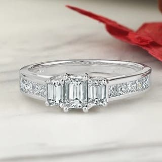 auriya 14k white gold 1 14ct tdw 3 stone emerald cut diamond - Emerald Cut Wedding Rings