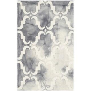 Safavieh Handmade Dip Dye Watercolor Vintage Grey/ Ivory Wool Rug (2'6 x 4')