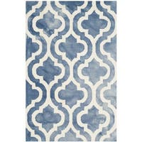 Safavieh Handmade Dip Dye Watercolor Vintage Blue/ Ivory Wool Rug - 2' x 3'