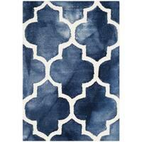 Safavieh Handmade Dip Dye Watercolor Vintage Navy/ Ivory Wool Rug - 2' x 3'