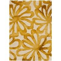 Safavieh Handmade Dip Dye Watercolor Vintage Beige/ Gold Wool Rug (2' x 3')