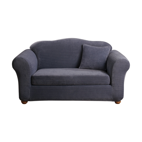 Sure Fit Stretch Royal Diamond Two Piece Loveseat Slipcover Free Shipping Today Overstock