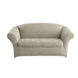 Sure Fit Stretch Jacquard Damask Two Piece Loveseat Slipcover