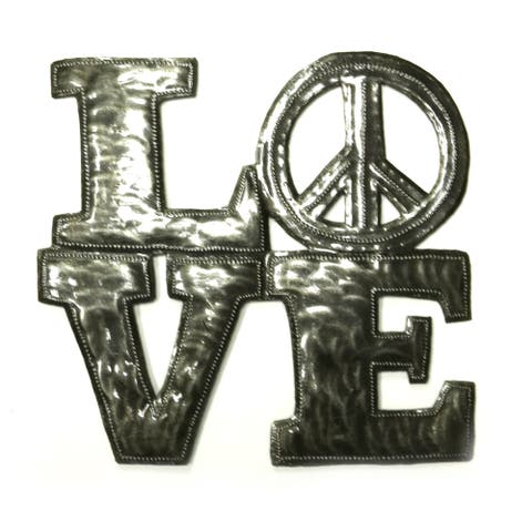 Handmade Steel Drum Love and Peace Wall Art (Haiti)