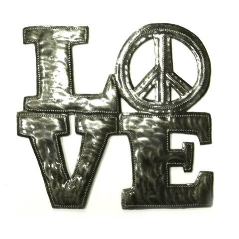 Handmade Steel Drum Love and Peace Wall Art (Haiti)