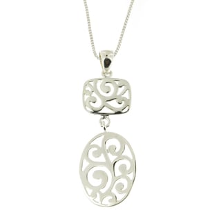 Handmade .925 Sterling Silver Polished Scroll Detailed Pendant Necklace(Thailand)