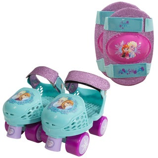 Playwheels Girls Kids Rollerskate Junior Size 6-12 with Knee Pads