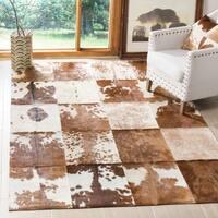 Safavieh Handmade Studio Leather Rustic Animal Ivory/ Tan Rug - 5' x 8'