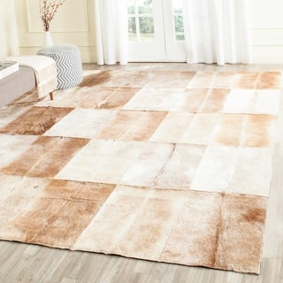Safavieh Handmade Studio Leather Rustic Animal Beige/ Brown Rug (5' x 8')