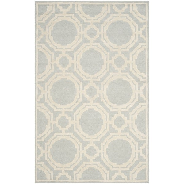 Safavieh Handmade Cambridge Grey/ Ivory Wool Rug (5' x 8')