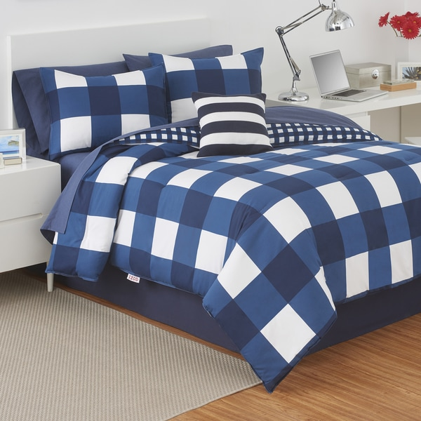 product free overstock chelsea plaid bath in bag bed bedding set comforter shipping today a blue