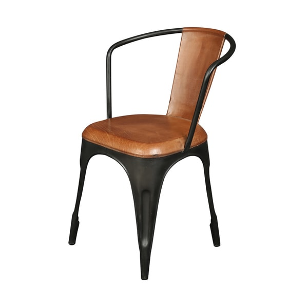 Handmade Wanderloot Closerie Industrial Cafe Chair with Leather