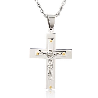 Men's Stainless Steel Layered with Goldtone Accents Cross Pendants