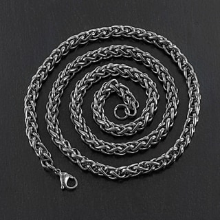 Crucible Black Plated Stainless Steel Spiga 24-inch Chain Necklace