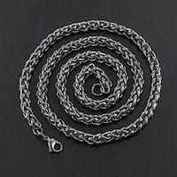 Crucible Men's Black Plated Stainless Steel 24-inch Wheat Chain Necklace