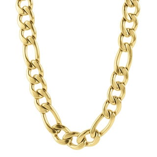 Crucible Gold Plated Stainless Steel 24-inch Figaro Chain Necklace