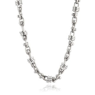 Stainless Steel Fancy Link Chain Necklace (13.5 mm) - 21.5 inches - Silver