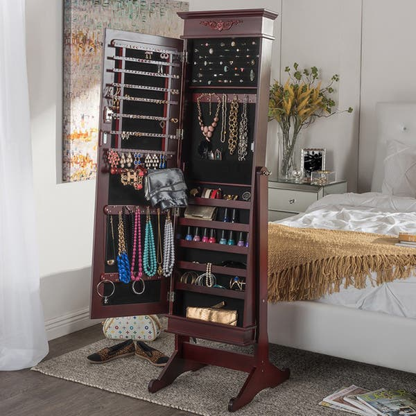 Shop Baxton Studio Bimini Brown Finished Free Standing Full Length Cheval Mirror Jewelry Armoire Overstock 10582933