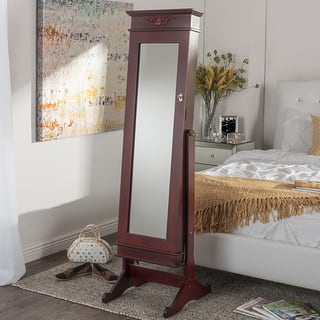 Baxton Studio Bimini Brown Finished Free Standing Full Length Cheval Mirror Jewelry Armoire|https://ak1.ostkcdn.com/images/products/10582933/P17658105.jpg?impolicy=medium