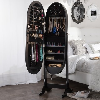 Baxton Studio Apache Black Finished Wood Oval Shaped Free Standing Cheval Mirror Jewelry Armoire