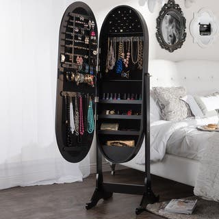 Baxton Studio Apache Black Finished Wood Oval Shaped Free Standing Cheval Mirror Jewelry Armoire|https://ak1.ostkcdn.com/images/products/10582934/P17658106.jpg?impolicy=medium