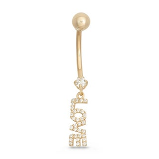 Gioelli 10k Yellow Gold Cubic Zirconia 'Love' Dangle Belly Ring