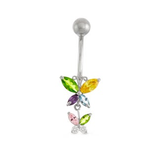 Gioelli 10k Yellow Gold Cubic Zirconia Butterfly Dangle Belly Ring