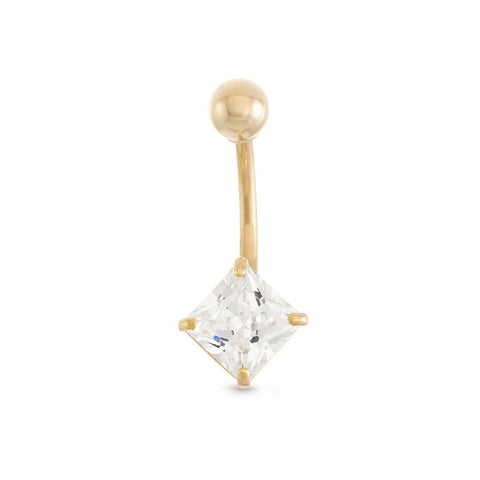 Gioelli 10k Yellow Gold Square-cut Cubic Zirconia Dangle Belly Ring