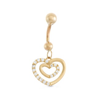 Gioelli 10k Yellow Gold Cubic Zirconia Dangle Hearts Belly Ring