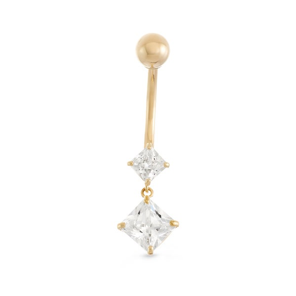 Gioelli 10k Yellow Gold Cubic Zirconia Dangle Square-cut Belly Ring