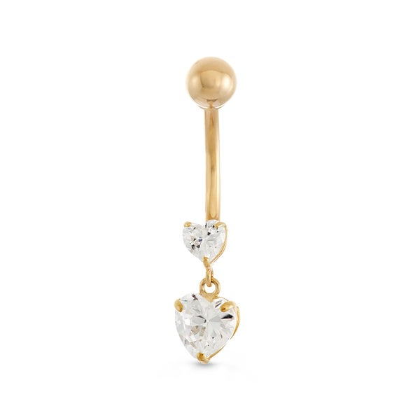 Gioelli 10k Yellow Gold Heart-cut Cubic Zirconia Dangle Belly Ring