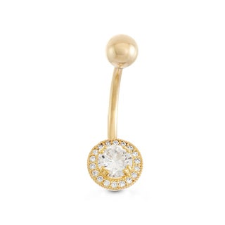 Gioelli 10k Yellow Gold Round-cut Cubic Zirconia Halo Dangle Belly Ring