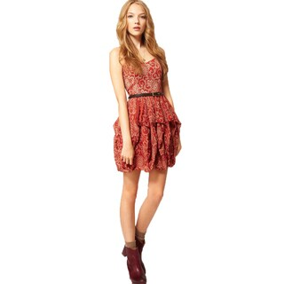French Connection Wonder Flower Red Floral Strapless Cotton Bubble Mini Dress