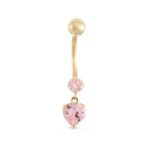 Gioelli 10k Yellow Gold Cubic Zirconia Dangle Heart Belly Ring