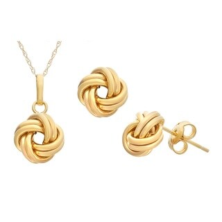 Gioelli 10k Gold Love Knot Earrings and Pendant Set