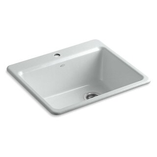 Kohler Riverby Top-Mount Cast Iron 25 inch 1-hole Single Bowl Kitchen Sink in Ice Grey