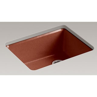 Kohler Riverby Top-Mount Cast Iron 22 inch 5-hole Single Bowl Kitchen Sink in Ember
