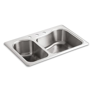 Kohler Staccato Large/Medium Self-Rimming Stainless Steel 33x22x8.3125 3-Hole Double Bowl Kitchen Sink