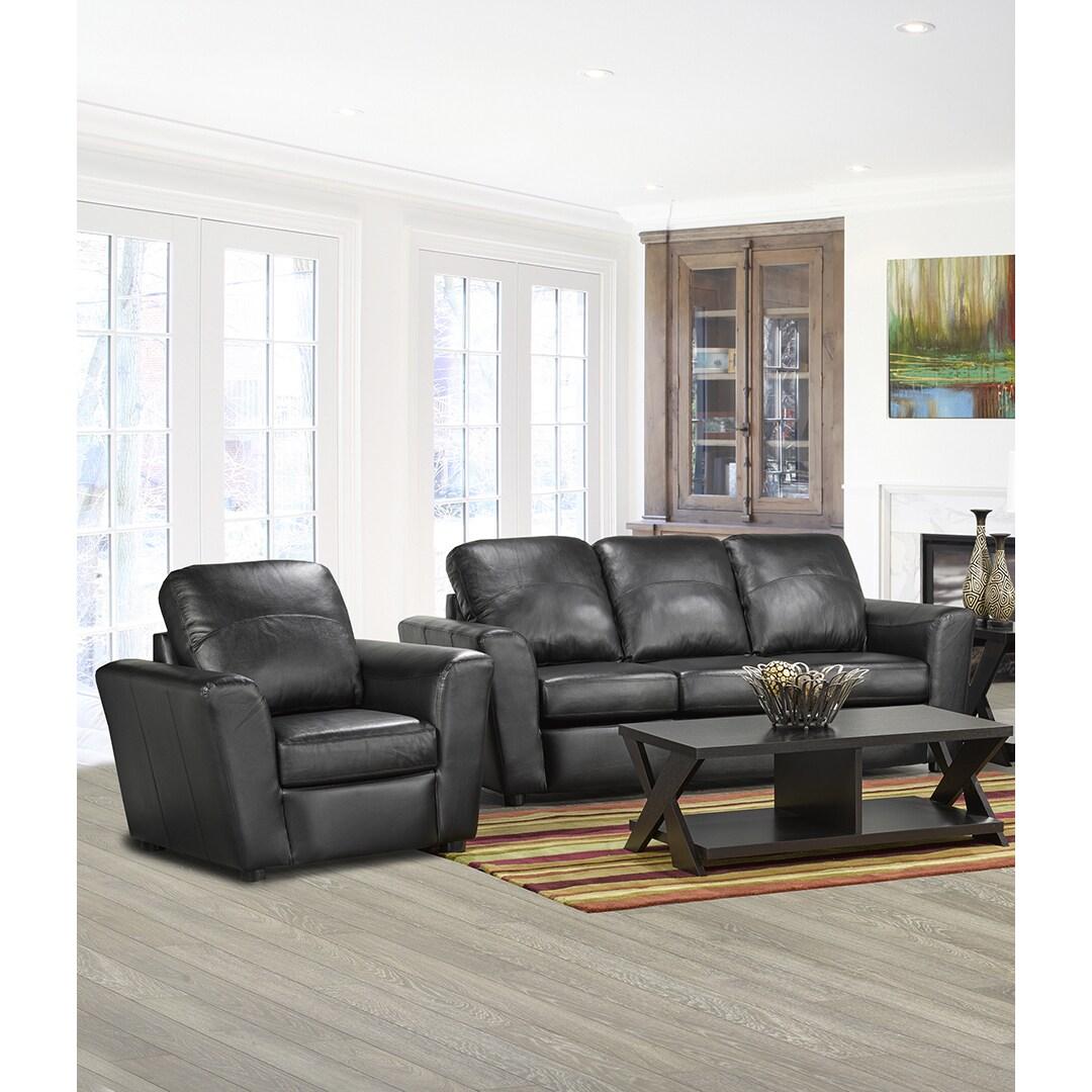 Coja Augusta Italian Leather Sofa and Chair Set (Black)