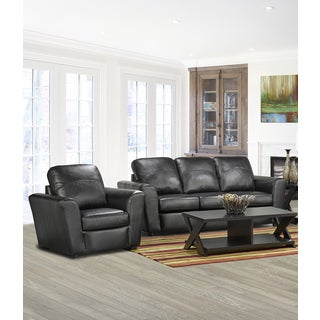 Augusta Italian Leather Sofa and Chair Set