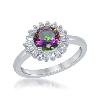 La Preciosa Sterling Silver Mystic Topaz Cubic Zirconia Halo Circle Ring