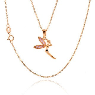 Sterling Silver Rose Gold Plated Cubic Zirconia Fairy Lady 18-inch Necklace (China)