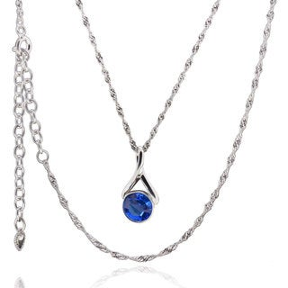 Sterling Silver Crystal 17-inch Necklace with 3-inch Extension (China)