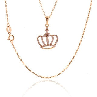 18-inch Sterling Silver Rose Gold Plated Pink Cubic Zirconia Crown Pendant Necklace