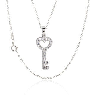Sterling Silver Round Cubic Zirconia Heart Key 18-inch Necklace